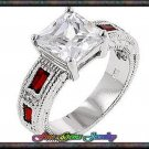 4.05ctw Vintage Princess Cut & Red Baguette Silver Plt  Ring - Sz 8