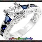 White Princess Cut w Blue Trillion & Emerald Cut Cz Silver Plt  Ring - Sz 5