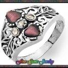 0.90ctw Cr Cats Eye, White CZ Sterling Silver Ring  Sz 7