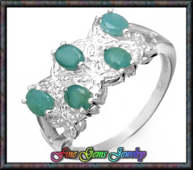 NEW 1.00ctw Genuine Emeralds Sterling Silver Ring Sz 7