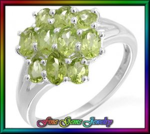 NEW 4.80ctw Genuine Peridots Sterling Silver Ring  Sz 6