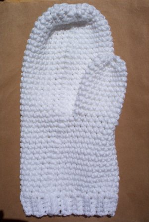 White Cotton Crochet Bath Mitt