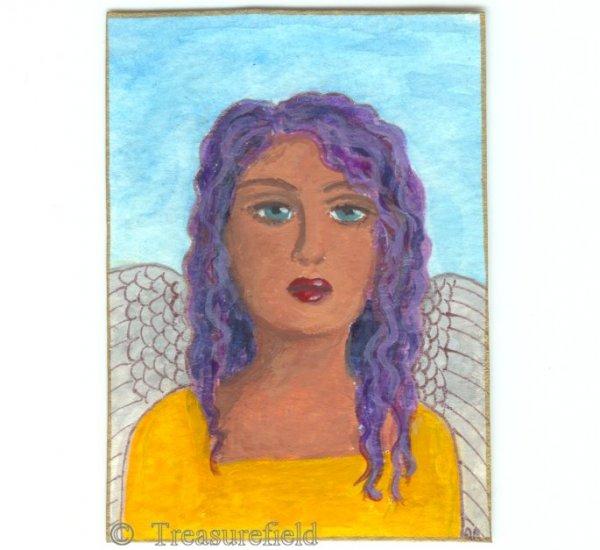 Angel in a Yellow Dress - ACEO - original art card