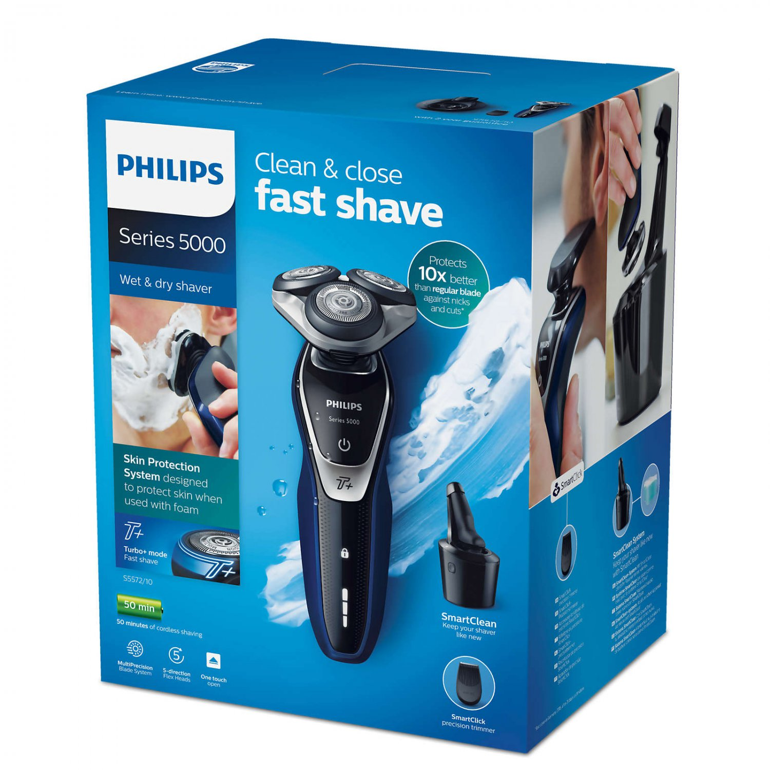 New Philips Shaver Series 5000 Wet & Dry Electric Shaver With SmartClean S5572/10