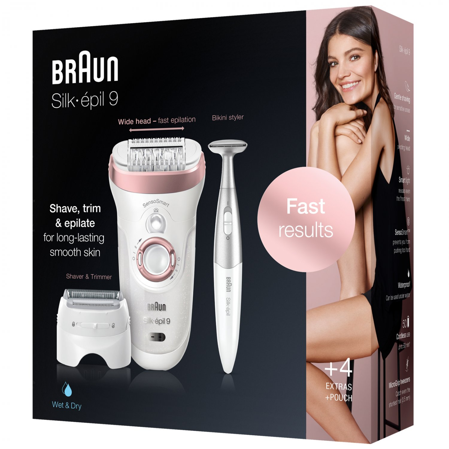 New Braun Silk-epil 9 SensoSmart 9/890 Wet & Dry Epilator with 4 Extras including 3in1 Trimmer