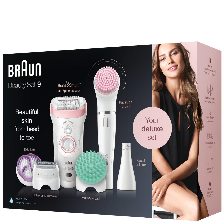 New Braun Silk-epil Beauty Set 9 9/985 BS Wet & Dry Epilator with 8 Extras including Braun FaceSpa