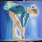 "Christine Wong One Of A Kind Original Oil Paintings *BLUE BALLET* Girl 14"" by 11"""