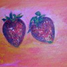 "Christine Wong One Of A Kind Original Acrylic Paintings *STRAWBERRIES* Signed 5"" by 7"""