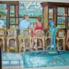 Christine ART Original Oil Painting SUMMER ISLAND CAFE