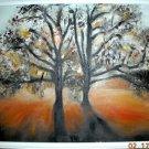 Christine ARTS ORIGINAL Oil Painting SUNSET TREE SHADOW