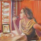 Christine ART Original Oil Painting WOMAN WITH LIPSTICK