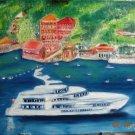 Christine ART Original Oil Painting SHIP BOATS BLUE SEA