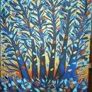 Christine Original Acrylic Painting BLUE TREE MOONLIGHT Signed 2009