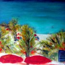 Christine ARTIST Original Oil Painting OVERLOOKING THE BEACH Signed 2008 ART