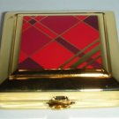 ESTEE LAUDER Powder Compact RED TARTAN 2006 Enamel Square Shape Limited NIB!