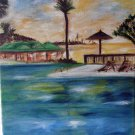 Christine ART Original Oil Painting Summer Vacation Resort Signed Artist 2008