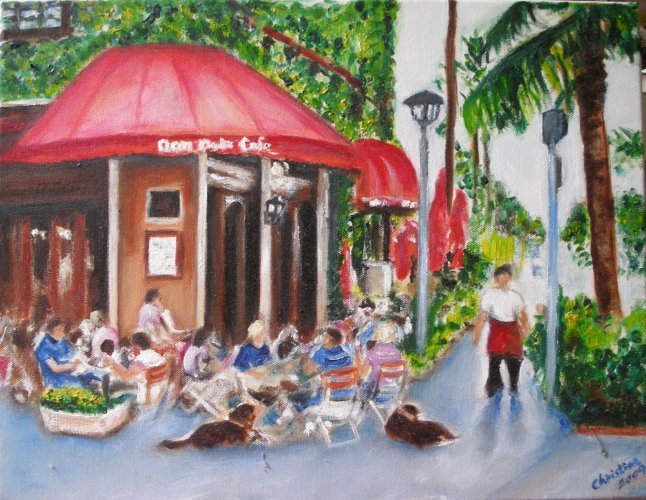 Christine ART Original Oil Painting Summer Cafe in Miami Signed Artist 2009