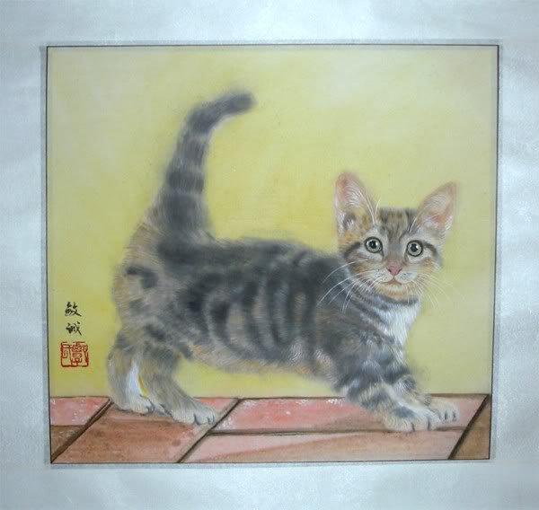Artist Original Watercolor Painting Grey Cat Kitten Signed ART NEW!