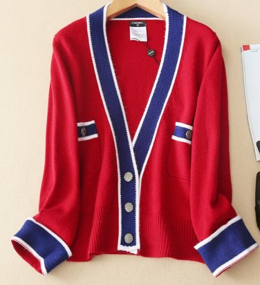 CHANEL Pure Cashmere Sweater RED BLUE Cardigan Top CC Signature Buttons  Size 38 9b9bc1e27