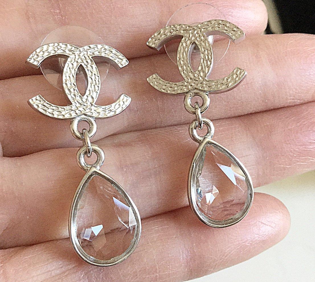 CHANEL Tear Drop Clear Crystal Dangle Earrings CC SILVER Stud