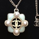 CHANEL Chain Necklace 2016 Summer Small Green Gripoix Pearl Pendant Hallmark