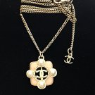 CHANEL Chain Necklace 2016 Summer Small Pink Gripoix Pearl Pendant Hallmark