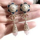 CHANEL 2015 Cruise Baroque Pink Quartz Dangle Earrings CC BLUE/WHITE Flower