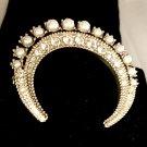 CHANEL CC Crystal Pearl Gold Brooch Pin Crescent Moon Series DUBAI HALLMARK 15
