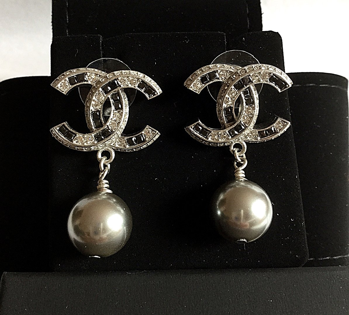 Chanel Silver Pearl Drop Black Diamond Dangle Earrings