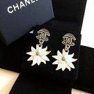 CHANEL Black CC Stud Flower Dangle Earrings WHITE Chrysanthemum Enamel Petal