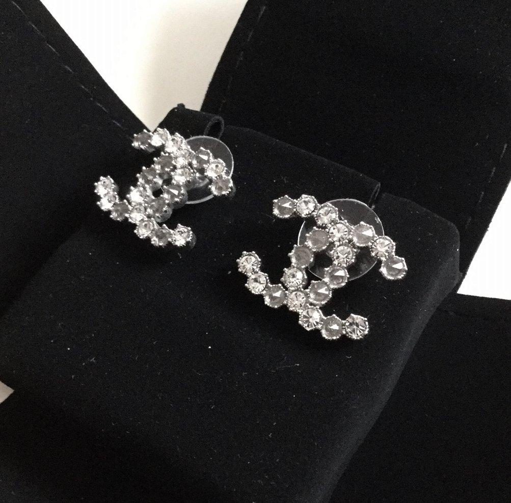 CHANEL Paris-Salzburg Swarovski Grey Silver Crystal CC Stud Earrings
