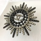 CHANEL SUN RAY Fashion Brooch Pin Black Bead Silver Crystal Stuning Beauty NIB