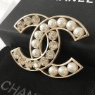 CHANEL Pearl Crystal Fashion Brooch GOLD Hallow CC ICON CLASSIC Authentic NIB