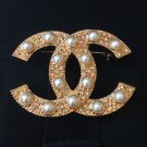 CHANEL Rose Gold Crystal Brooch PEARL SHINE Jewel 2014 Hallmark Authentic NIB