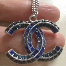 CHANEL BLUE Baguette CC Crystal Pendant Necklace SILVER Chain Authentic NIB!