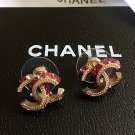 CHANEL CC Crystal Gold Pink Purple Stud Earrings Classic Mini Hallmark Authentic