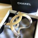 CHANEL CC Bracelet Silver Metal Cuff 2016 Simplicity Chic Authentic Hallmark