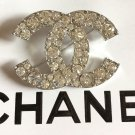 CHANEL Silver Metal CC Brooch Pin Big Clear Rhinestone Crystal Authentic NIB