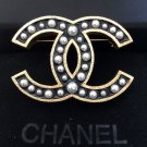CHANEL Gold Metal Brooch Pin Black Enamel Cream Gradual Pearl Authentic NIB