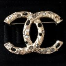CHANEL Rome Paris Pearl Rhinestone Crystal Brooch Pin VINTAGE GOLD CC Authentic