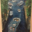 "Christine Wong Original Oil Painting *Boats on Waterway* One Of A Kind Arts 12"" by 16"""