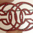 CHANEL Red Crystal 3D CC Ruthenium Metal Fashion Brooch Pin Authentic NIB