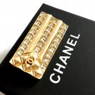 CHANEL Gold Brooch Pin CC Small Rectangle Crystal Square Authentic NIB