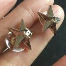 CHANEL Gold Star CC 3 Dimensions Stud Earrings Simple Hallmark NIB