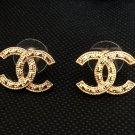 CHANEL CC Stud Earrings Gold Patterned Basic Medium Size Hallmark NIB!