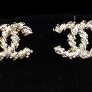 CHANEL Silver Twisted Crystal Stud Earrings CC Medium Size Hallmark NIB