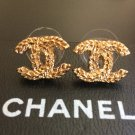 CHANEL CC Gold Wheat Patterned Stud Earrings Small Size Hallmark NIB!