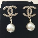 CHANEL Crystal Scatter Gold Metal CC Pearl Dangle Earrings Authentic NIB