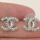 CHANEL Classic Crystal Stud Silver Earrings Small CC Hallmark Authentic NIB