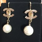 CHANEL Pale Pink Crystal Gold Pearl Dangle Earrings Lever Back NIB